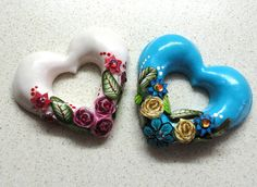 Two beautiful polymer clay hollow heart cabs .ooak . turquoise. white.millefiori. | Flickr - Photo Sharing!