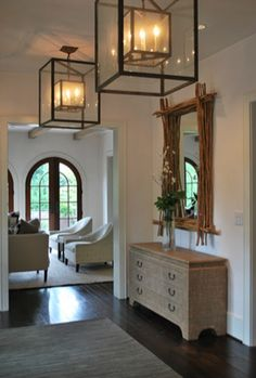 If only I had high ceilings...LOVE the light fixtures instead of chandeliers.