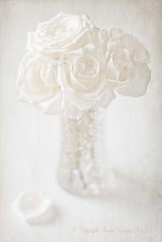 Jarrón de cristal con rosas blancas