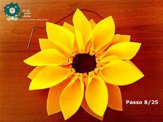 Eu Amo Artesanato: Flor Girassol em Feltro com molde Punch Needle, Felt Flowers, Orange, Fruit, Belem, Salvador, Clothing, House, General Crafts