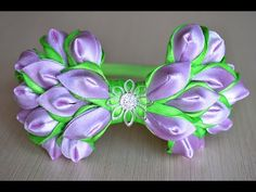 Бант из ленты на ободке канзаши Мастер класс Ribbon bow DIY kanzashi handmade hair ornaments - YouTube