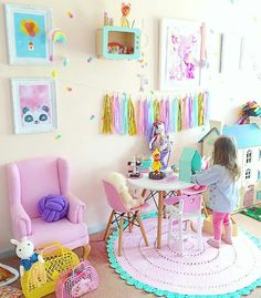 Colorful Contemporary Playroom Ideas 99 Inspiration Decor 42 - Home & Decor Ideas Dormitorios, Toddler Rooms, Kids Rooms, Daughters Room, Toy Rooms, Little Girl Rooms, Girls Bedroom, Bedroom Ideas, Bedroom Decor