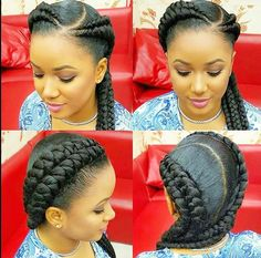 40 Ghana Braids Styles Ghana braids are growing in popularity and are a wonderful style. Check out these unique & hip styles of Ghana braids/Banana braids for your next braids hairdo! Black Girl Braids, Braids For Black Hair, Girls Braids, Ghana Braid Styles, Ghana Braids, 2 Cornrow Braids, Plaits, Ghana Style, Girl Hairstyles