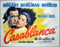 CASABLANCA movie poster film poster one sheet 1942  HUMPHREY BOGART, INGRID BERGMAN  $34995.00