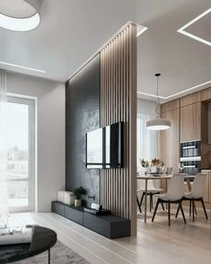 Stylish Homes With Modern Interior DesignYou can find Home interior design and more on our website.Stylish Homes With Modern Interior Design Living Room Partition, Room Partition Designs, Living Room Tv, Interior Design Living Room, Home And Living, Bathroom Interior, Modern Living Room Designs, Small Living, Kitchen With Living Room
