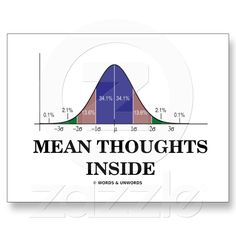 Mean Thoughts Inside (Statistics Humor) Postcards from Zazzle.com