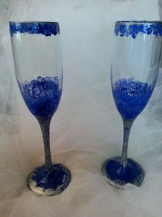 Blue and Silver Champagne Glasses by JosLagniappe on Etsy