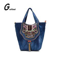 Этнический стиль вышитые красочные цветы Denim дамы большой емкости плеча сумки случайные сумки тотализатора для женщин леди Mujer