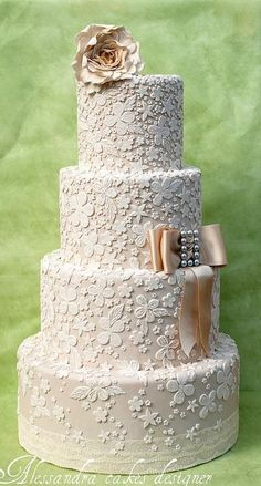 Champagne Wedding Cake with Delicate White Lace inspired by Bride's Dress