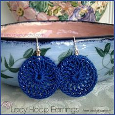 Lacy Hoop Earrings A Free Crochet Pattern | The Purple Poncho ༺✿ƬⱤღ  http://www.pinterest.com/teretegui/✿༻