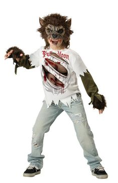 #17015 Howl at the moon this Halloween as a Werewolf. The Werewolf Costume includes a vinyl chinless Werewolf mask, a white shirt with realistic graphic tears and fingerless gloves. *The depicted pant