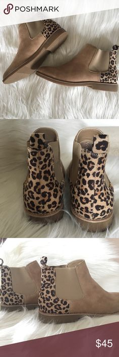 Chelsea boots with cheetah detail NIB 8 Adorable Chelsea boots by seven dials. Size 8. New in box. Never worn. Pull on classic style. From a smoke free home. Seven Dials Shoes Ankle Boots & Booties