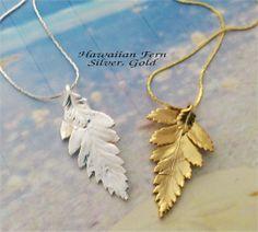 Real Leaf jewelry Small Hawaiian Fern leaf pendant by WoodSmith on Etsy