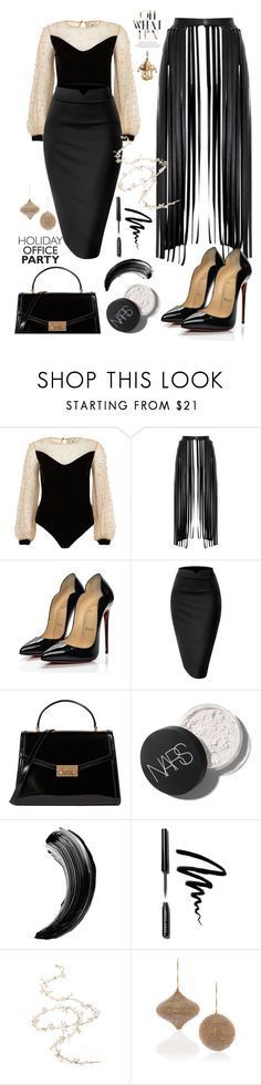 """Holidays:the office party"" by felicitysparks ❤ liked on Polyvore featuring River Island, Christian Louboutin, Tory Burch, Bobbi Brown Cosmetics, Twigs & Honey, Katherine's Collection and L'Objet"