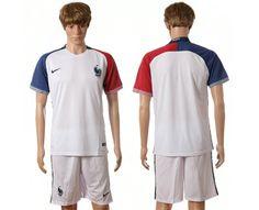 2016 Euro Cup France Away White Blank Soccer Uniform Jerseys