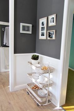 Love the wall color and white! Elegant Home Decor, Elegant Homes, Raskog Ikea, Ikea Cart, Grey Wall Color, Dark Grey Walls, Kitchen Nook, Kitchen Cart, Kitchen Ideas