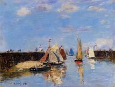 The Port Of Trouville 1886 Greeting Card for Sale by Boudin Eugene Seascape Paintings, Cool Paintings, Claude Monet, Eugene Boudin, Art Et Nature, Honfleur, Sailboat Painting, Le Havre, Vintage Posters