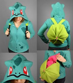 Bulbasaur Pokemon Costume Hoodie with Bulb Backpack by CholyKnight