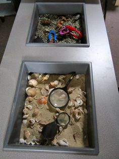 Sensory Tubs exploration and provocation ≈≈ Early Life Foundations ≈≈ Sensory Tubs, Sensory Boxes, Sensory Activities, Sensory Play, Classroom Activities, Learning Activities, Kids Learning, Inquiry Based Learning, Learning Centers