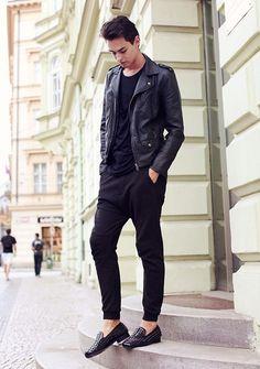 Christian Louboutin Studded Shoes, H Leather Jacket, Bershka Trousers