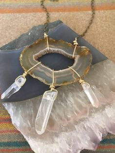 AWAKEN ::: Agate Geode & Quartz Crystal Necklace by Element Creations Jewelry