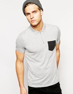 .: ASOS Polo Shirt With Zip Neck And Polka Dot Print :.  Polo shirt by ASOS     Made from pure 100% cotton     Polo collar with zip placket     Contrast chest pocket     Short sleeves with printed design     Regular fit