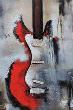 Guitar Painting Abstract Painting Red White & Black