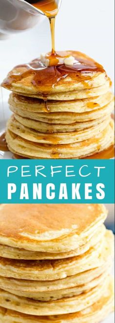 Perfect Pancakes The Perfect Homemade Pancake Recipe is easy to make with ingredients you probably already have on hand. This recipe can easily be turned into a pancake mix or into buttermilk pancakes as well. It's the perfect versatile all-in one recipe. Easy Pancake Mix, Pancake Healthy, Pancake Mix Homemade, Breakfast Dishes, Breakfast Recipes, Breakfast Pancakes, Perfect Pancake Recipe, Pancake Recipe With Vinegar, Courge Spaghetti