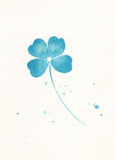 Leaf, leaf print, minimalist, art, giclee, print, watercolor art print, watercolor painting, Blue clover leaf--watercolor print 6x8 via Etsy