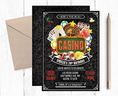 Casino Theme  Invitations Casino Theme Party Casino Birthday