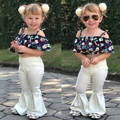Girls' Clothing (Sizes 4 & Up) Boutique Toddler Kids Girls Off Shoulder Floral Tops Flares Pants Outfits Set African Dresses For Kids, Dresses Kids Girl, Little Girl Fashion, Kids Fashion, Fashion Outfits, Baby Outfits, Kids Outfits, Baby Kostüm, Kids Dress Wear