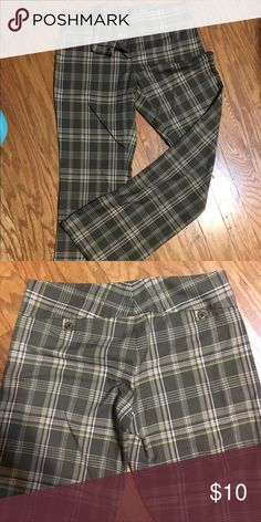 """Long green plaid pants These green plaid pants are surprisingly sexy. I bought them at Nordstrom, and they have always fit comfortably and in a flattering way. They are super long (34"""" inseam) and hit right below the waist. They are soft and don't wrinkle. Love these! Frenchi Pants Straight Leg"""