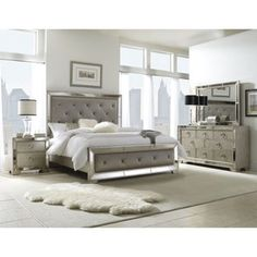 Celine 5Piece Mirrored And Upholstered Tufted Queensize Bedroom Extraordinary Queen Size Bedroom Sets Inspiration Design
