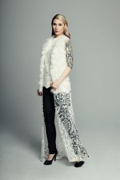 MAISON CYMA - La Charmeuse // Recycled arctic fox vest with a triangular hand smocked back and a detachable lace veil. // #fashion #readytowear #recycledfur #fur #ootd #designer #fallfashion #maisoncyma #clothes #clothing