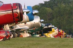 EAA AirVenture. Oshkosh, WI. - A line of Vintage planes - my dad's favorite section.