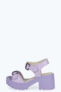Rachel Pastel Peeptoe Block Heel Sandal at boohoo.com