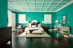 Tropical Sea by Behr   How 14 Popular Paint Colors Look In Actual Rooms
