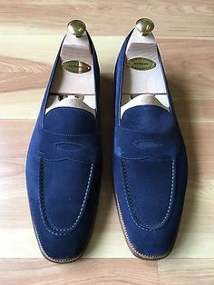 Edward Green Navy Suede Unlined Penny Loafer 10.5/11 E