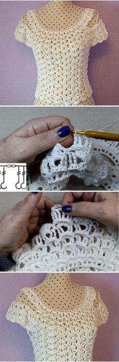 Crochet Patterns Top Very Easy and Fast Woman's Blouse Tutorial Crochet Woman, Love Crochet, Beautiful Crochet, Crochet Lace, Crochet Stitches, Blouse Tutorial, Knitting Patterns, Crochet Patterns, Crochet Shirt