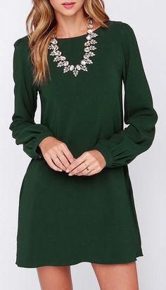 Perfect Situation Dark Green Long Sleeve Shift Dress, I'm not one for the necklace though.