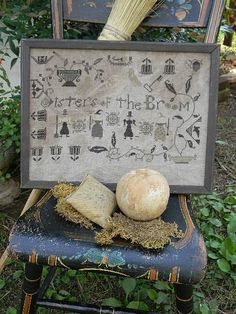 "NEW August 2012 Cross Stitch Pattern from Notforgotten Farm - ""Sisters of the Broom"" - EHAG - Etsyfolk. $10.00, via Etsy."