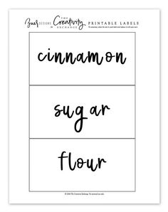 Free printable hand lettered labels that you can type in your text and edit.