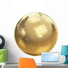 Golden Disco Ball White Wall Mural by Wallmonkeys Peel and Stick Graphic 24 in H x 24 in W WM234826 -- See this great product. (This is an affiliate link and I receive a commission for the sales) #WallStickersMurals