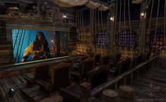 Home cinema: lekker filmpje kijken op een piratenboot.