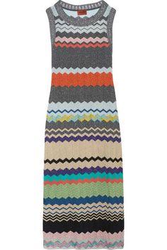 Missoni - Metallic Crochet-knit Midi Dress - Silver - IT
