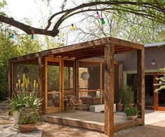 Architect Visit: Screened Porch by Poteet Architects in San Antonio, Texas - Gardenista - Living Area with Entry to the Deck / Patio / Porch - House Exterior - Treehouse - House Exterior Outdoor Rooms, Outdoor Living, Indoor Outdoor, Outdoor Yoga, Gazebos, Casas Containers, Backyard Sheds, Screened In Porch, Front Porch
