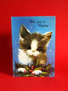 Kitten Christmas Card - Vintage With Love to Mummy Mother Mom Super Cute Cat & Holly Greeting Card - Unused! by FunkyKoala on Etsy
