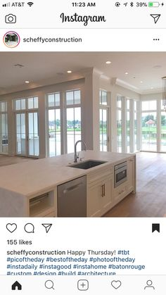 Maybe one day we'll redo the windows across our living room/breakfast nook? Barbie Dream House, Lodge Decor, House Floor Plans, Home And Living, Living Room, My Dream Home, Decoration, Home Kitchens, Kitchen Remodel