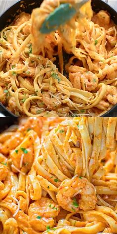 food recipes quick dinner pasta dishes Shrimp Fettuccine with Roasted Pepper Sauce Lobster Recipes, Shrimp Recipes, Pasta Recipes, Cooking Recipes, Crab Cake Recipes, Recipe Pasta, Easy Dinner Recipes, Easy Meals, Shrimp Fettuccine