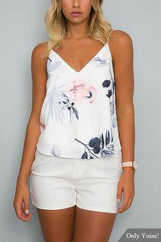 Random Floral Print V-neck Cami Top in White